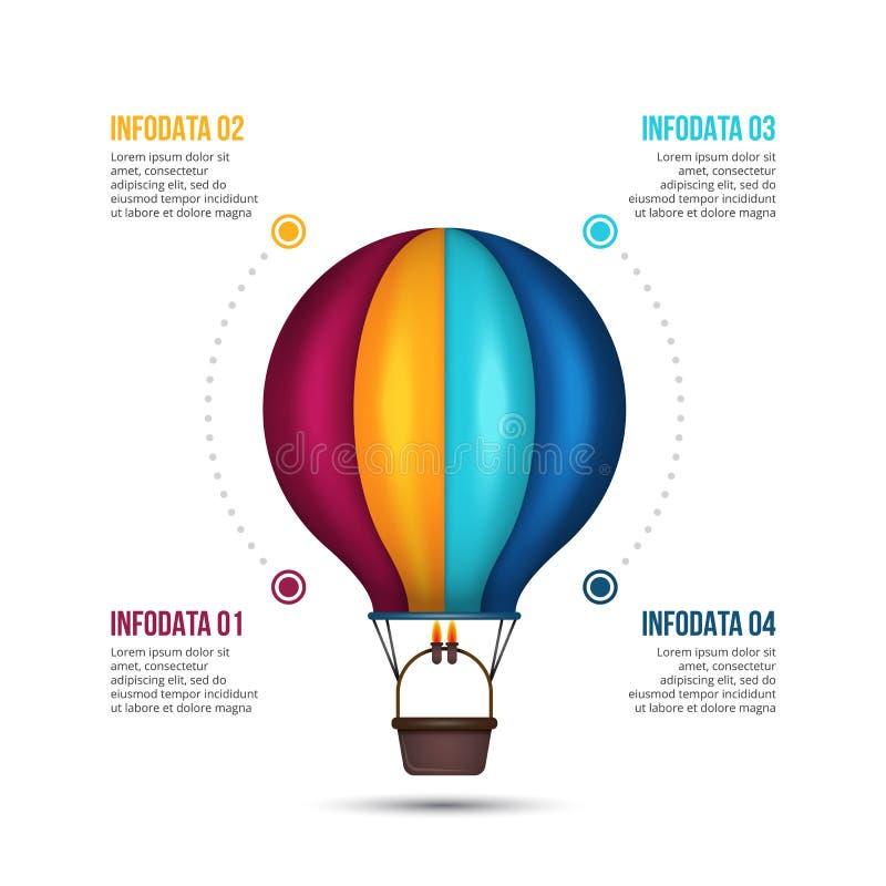 Calibre d'Infographic avec le ballon à air Illustration de démarrage de vecteur illustration stock
