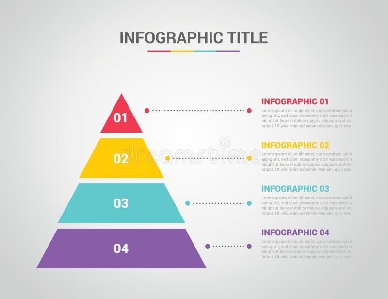 Calibre d'Infographic avec le style de pyramide avec le texte de l'espace libre pour la description avec le processus 4 à quatre  illustration stock