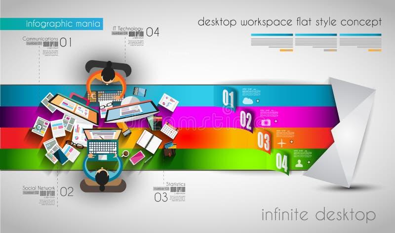 Calibre d'Infographic avec les icônes plates d'UI pour le rang de ttem illustration de vecteur