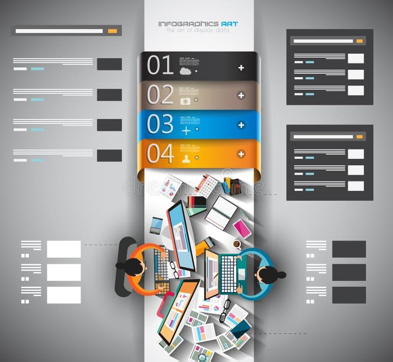 Calibre d'Infographic avec les icônes plates d'UI pour le rang de ttem illustration libre de droits
