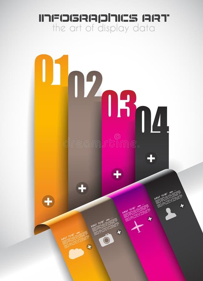 Calibre d'Infographic avec les rayures de papier pour le rang d'article Idéal à employer pour l'affichage d'études de marché, car illustration libre de droits