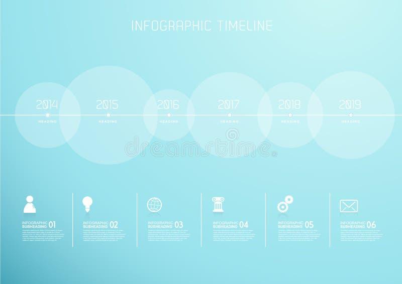 Calibre d'Infographic avec six cercles et icônes illustration stock