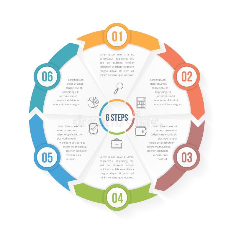Calibre d'Infographic de cercle avec six éléments illustration stock