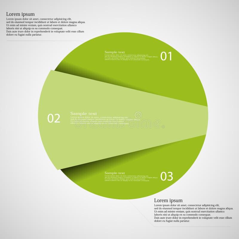 Calibre d'Infographic de cercle coupé à trois parts vertes illustration stock