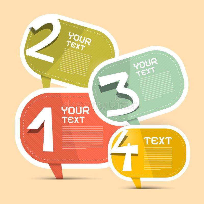 Calibre d'Infographic de papier de vecteur de quatre étapes illustration stock