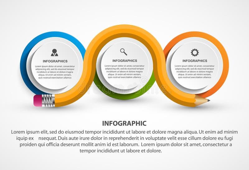 Calibre d'Infographics avec le crayon Infographics pour la bannière de présentations ou d'information d'affaires illustration stock