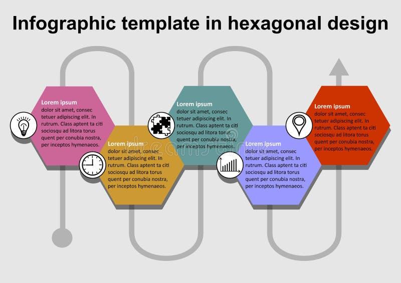 Calibre d'Infographics avec les dossiers des textes et les ic?nes color?s hexagonaux, interconnexion de diff?rents ?l?ments par u illustration libre de droits