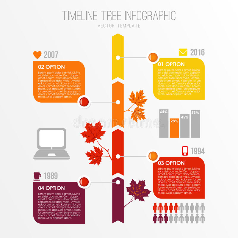 Calibre d'infographics d'arbre de chronologie L'automne, conception plate de chute avec l'érable part Éléments de présentation Il illustration libre de droits