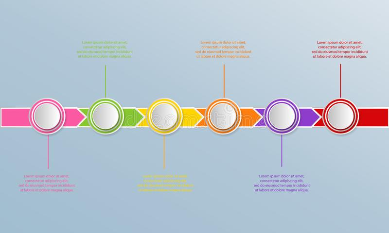 Calibre d'infographics de chronologie avec des flèches, organigramme, déroulement des opérations illustration libre de droits