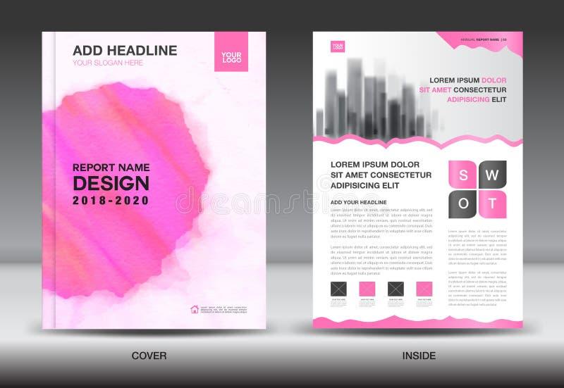 Calibre d'insecte de brochure de rapport annuel, conception rose de couverture, busine illustration stock