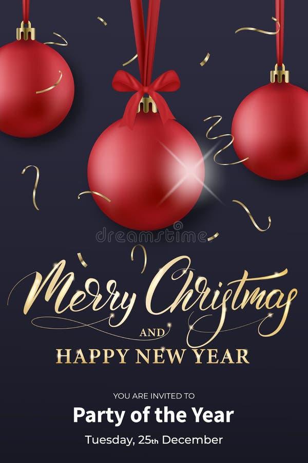 Calibre d'insecte de Noël Conception de vacances d'hiver avec des boules, des confettis et la calligraphie de Joyeux Noël illustration stock