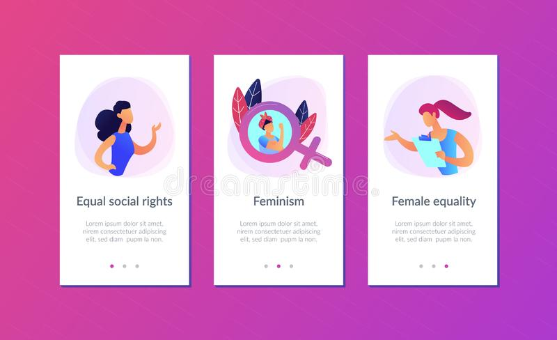 Calibre d'interface du féminisme APP illustration libre de droits
