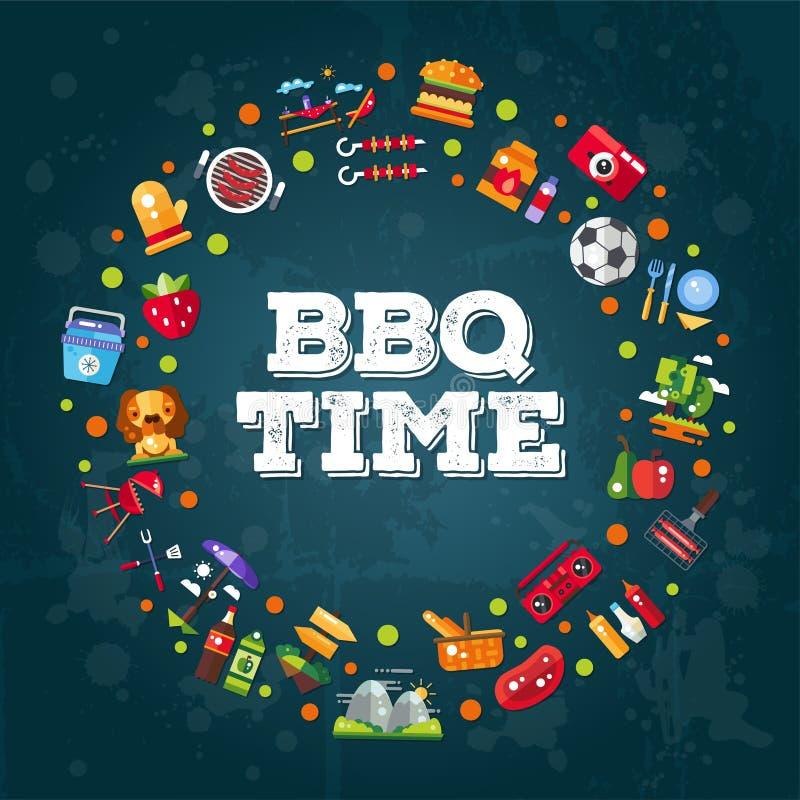 Calibre d'invitation de barbecue plat de conception illustration de vecteur