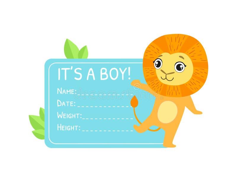 Calibre d'invitation de douche de bébé garçon, carte rose avec le lion mignon et endroit pour votre illustration de vecteur des t illustration stock