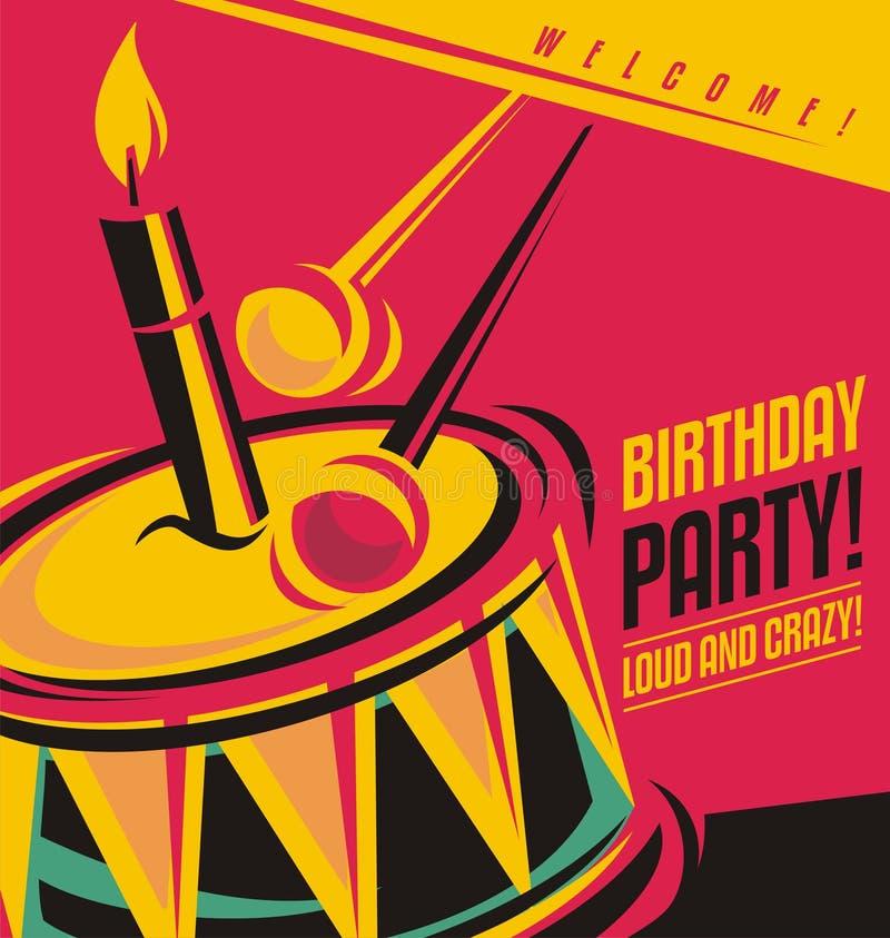 Calibre d'invitation de fête d'anniversaire illustration de vecteur