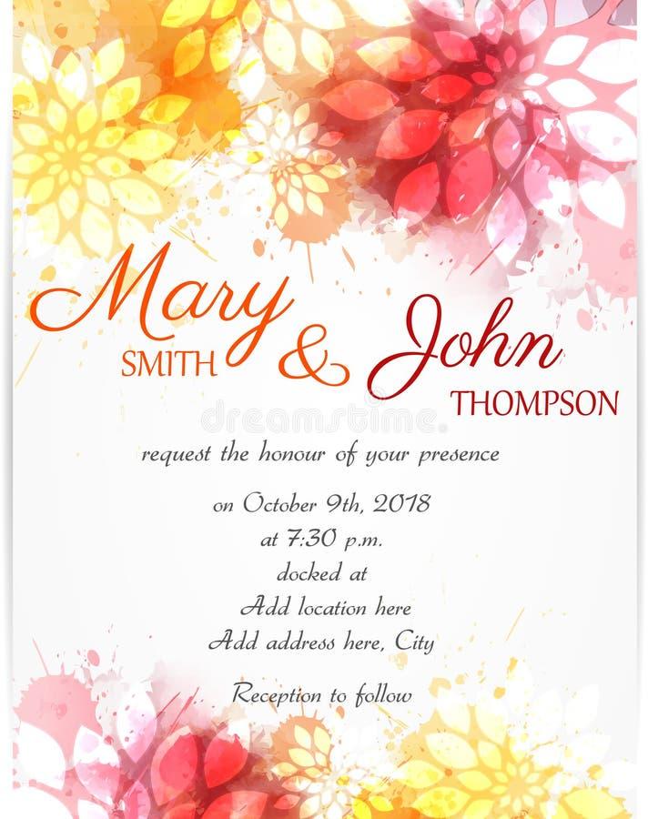 Calibre d'invitation de mariage avec les fleurs abstraites illustration de vecteur