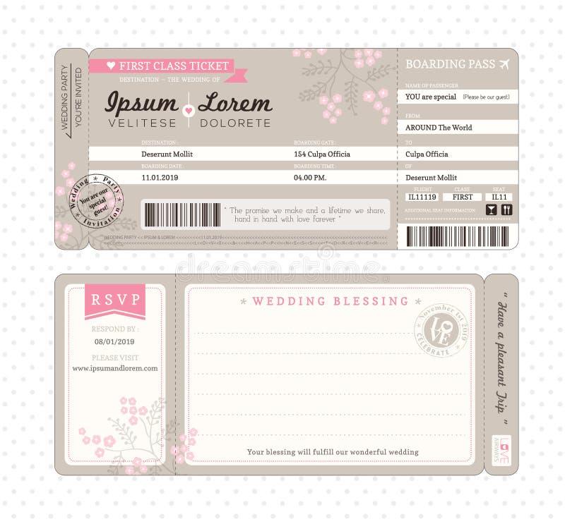 Calibre d'invitation de mariage de carte d'embarquement