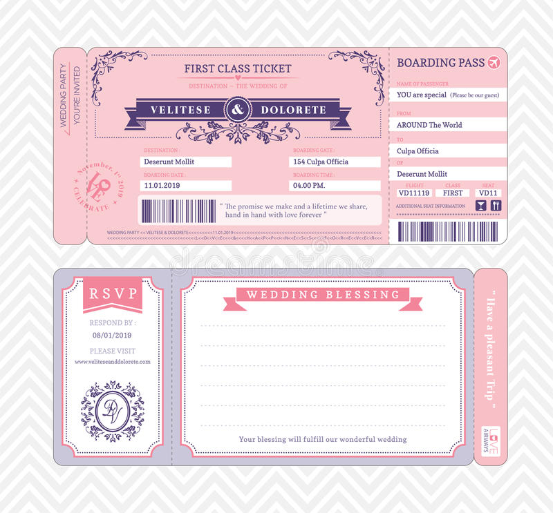 Calibre d'invitation de mariage de carte d'embarquement illustration libre de droits