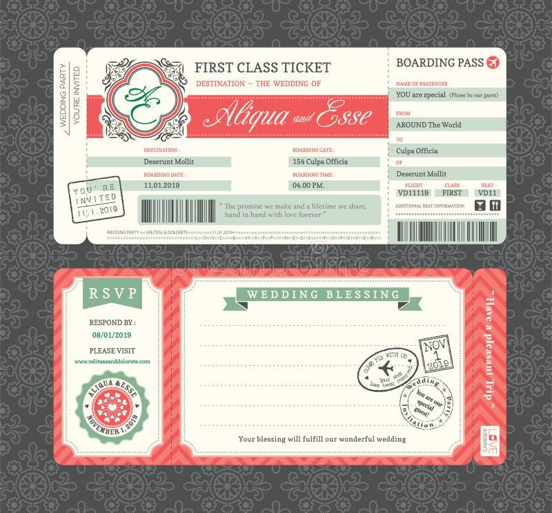 Calibre d'invitation de mariage de carte d'embarquement de vintage illustration libre de droits