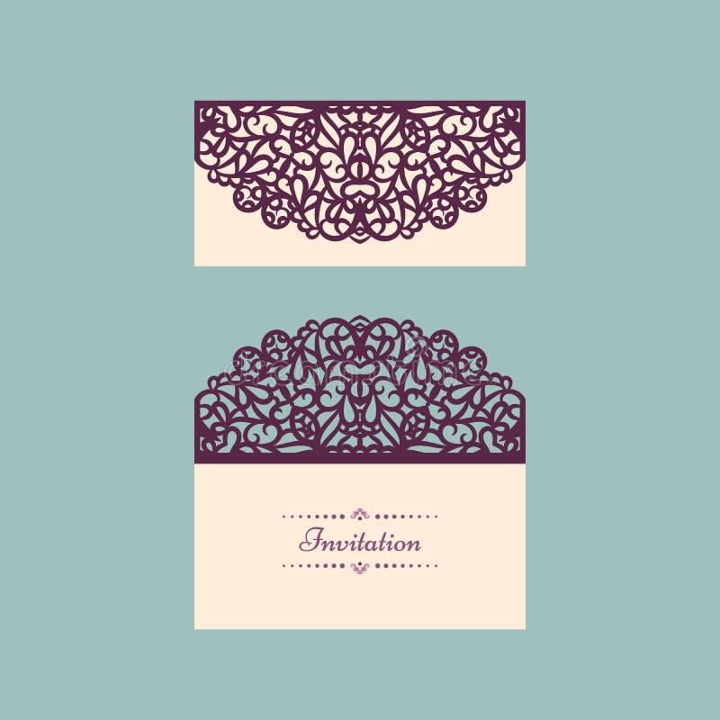 Calibre d'invitation de mariage de vecteur de Lazercut Enveloppe d'invitation de mariage pour la coupe de laser Plis de porte de  illustration de vecteur