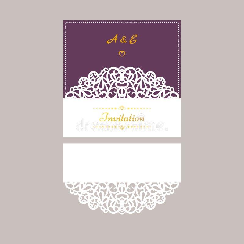Calibre d'invitation de mariage de vecteur de Lazercut Enveloppe d'invitation de mariage pour la coupe de laser Plis de porte de  illustration libre de droits