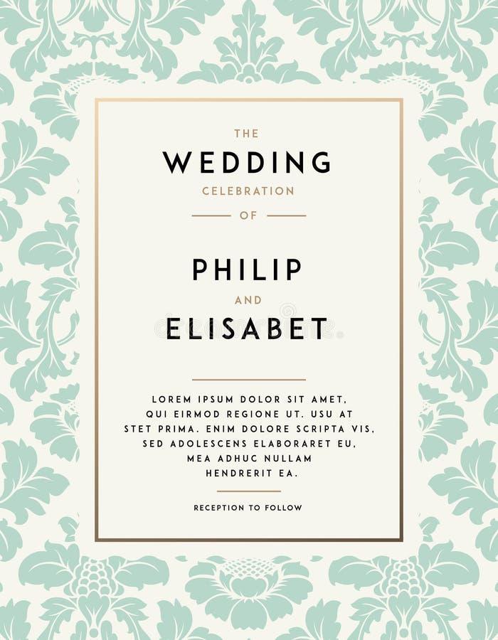 Calibre d'invitation de mariage de vintage illustration stock