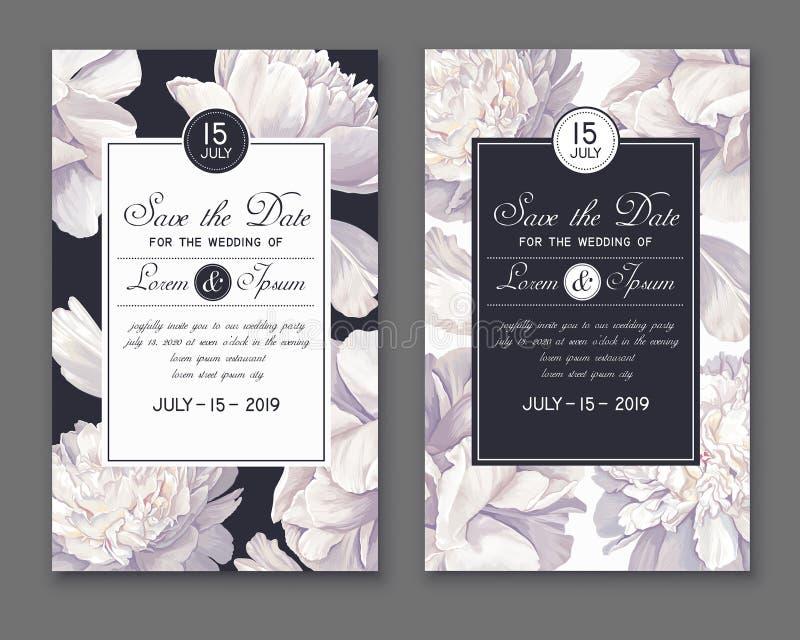 Calibre d'invitation de mariage ou de partie Sauvez les cartes de date avec les fleurs et les feuilles blanches de pivoines illustration stock