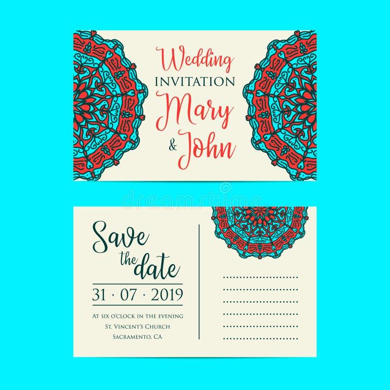 Calibre d'invitation de mariage de vintage Graphique d'amour d'illustration de vecteur illustration stock