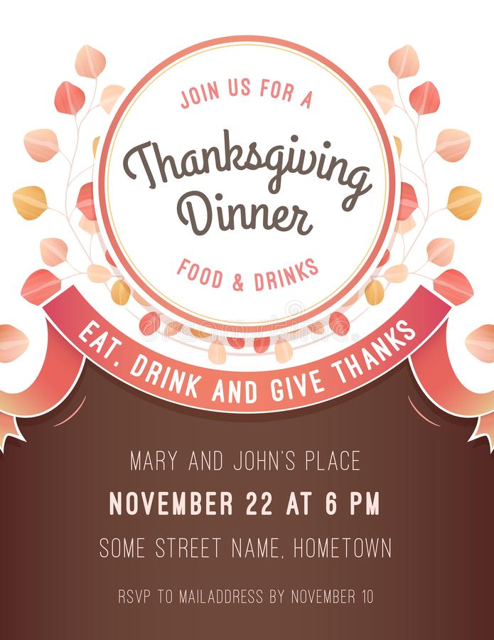 Calibre d'invitation de thanksgiving avec un modèle de couleurs chaud illustration stock