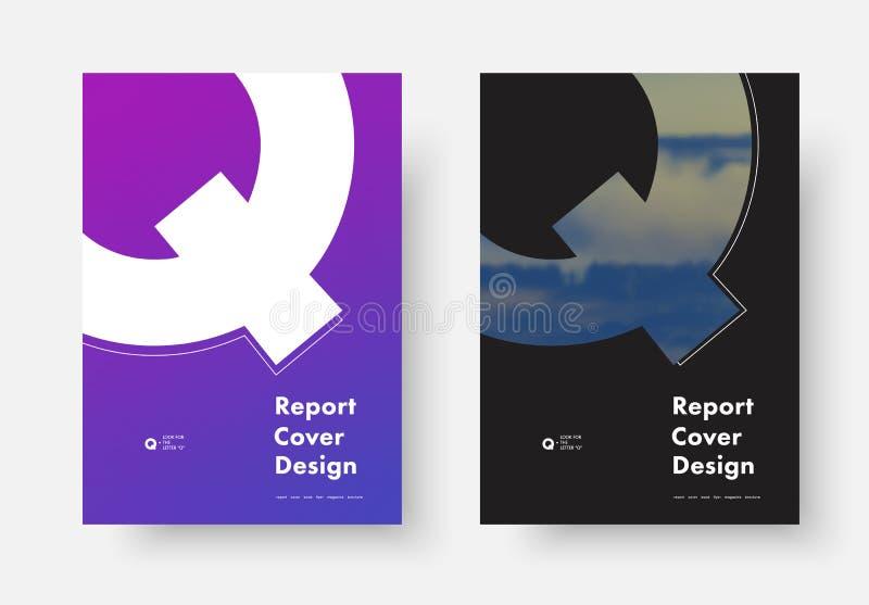 Calibre d'un vecteur de couverture de rapport annuel avec une silhouette de t illustration libre de droits