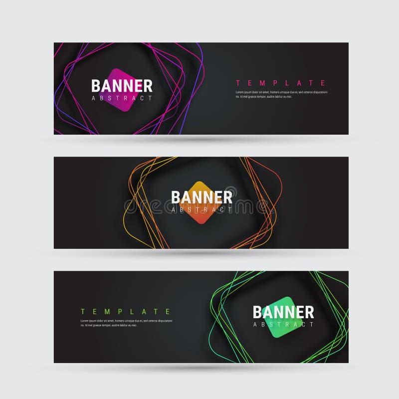 Calibre d'une bannière noire de vecteur avec les lignes multicolores carrées illustration libre de droits