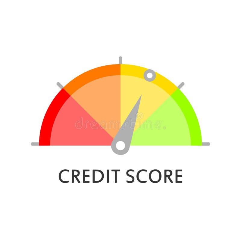 Calibre da pontuação de crédito avaliação Medidor da pontuação de crédito Ícone do vetor no estilo liso ilustração royalty free