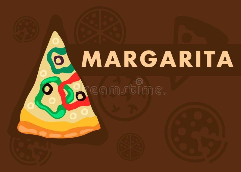 Calibre de bande dessinée de Margarita Pizza Web Banner Flat illustration de vecteur