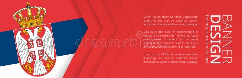 Calibre de bannière avec le drapeau de la Serbie pour le voyage, les affaires et autre de la publicité illustration stock