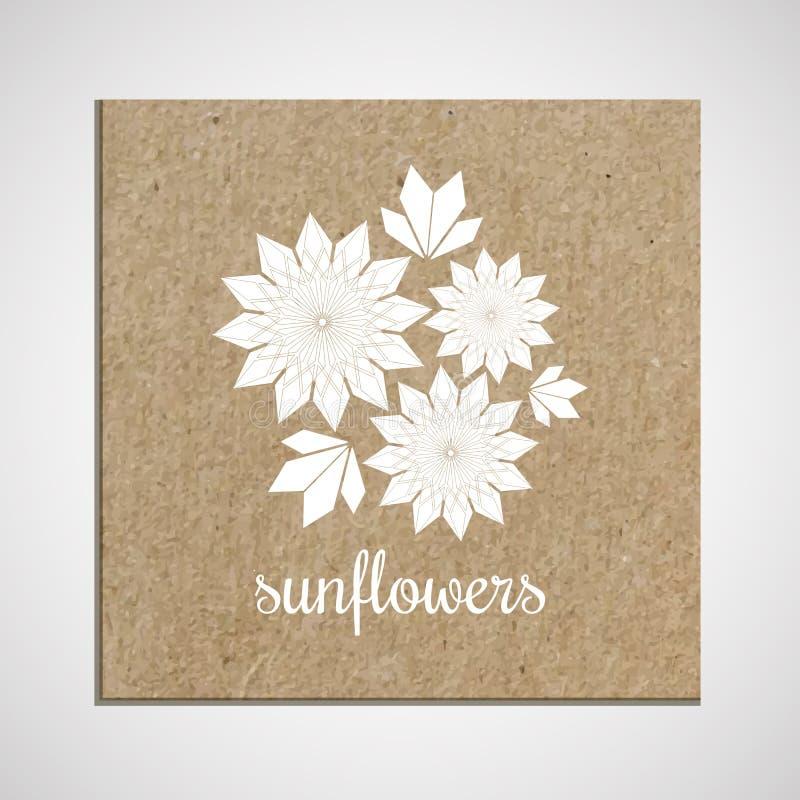 Calibre de bannière avec une herbe sur le fond de carton avec des tournesols photographie stock