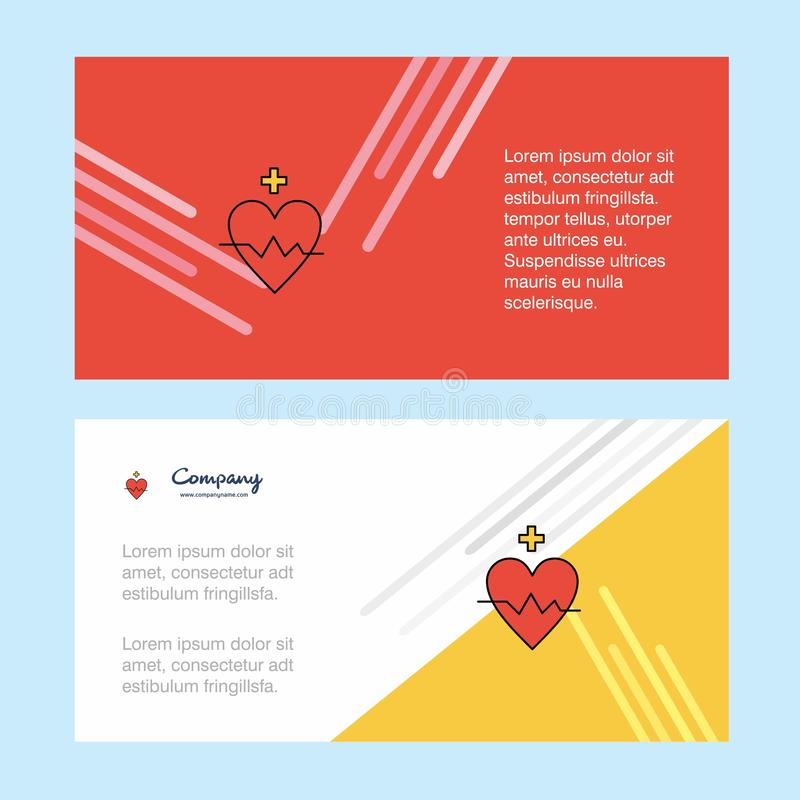 Calibre de bannière d'entreprise constituée en société d'abrégé sur fréquence cardiaque, bannière horizontale d'affaires de publi illustration libre de droits