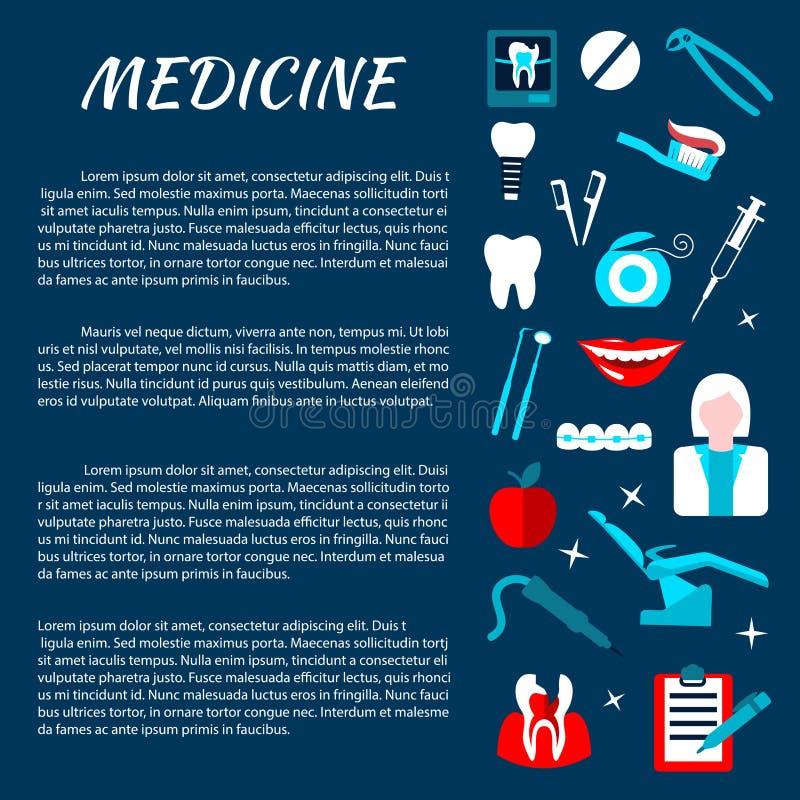 Calibre de bannière d'infromation de médecine d'art dentaire illustration stock