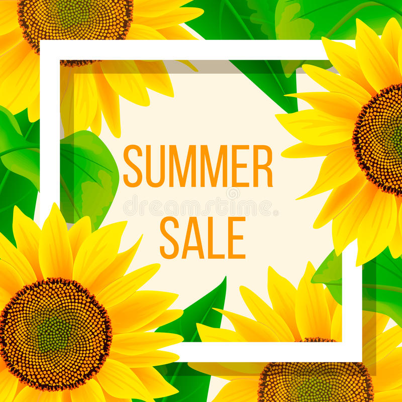Calibre de bannière de vente d'été avec le tournesol, illustration illustration stock