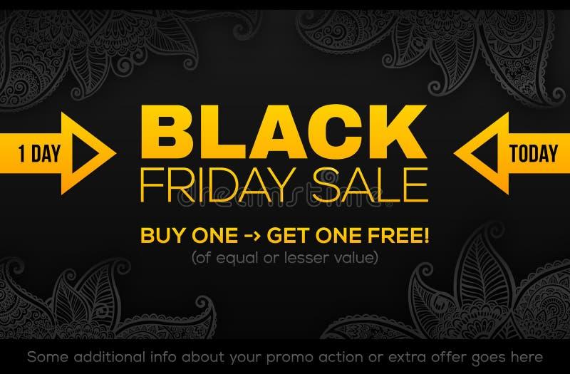 Calibre de bannière de VENTE de BLACK FRIDAY dans des couleurs noires et jaunes illustration stock