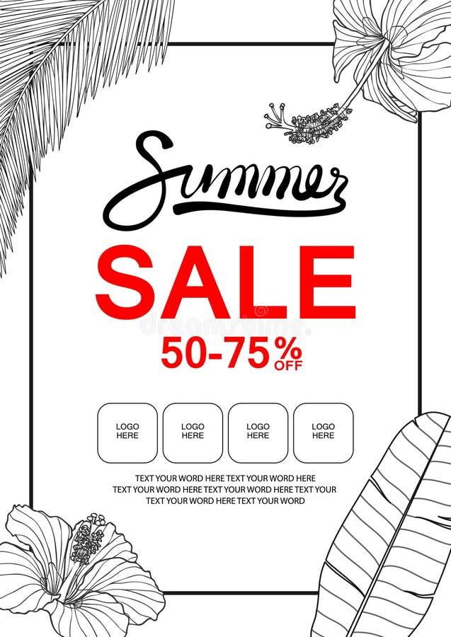Calibre de bannière en vente d'été avec la ketmie, la feuille de banane et le c illustration de vecteur