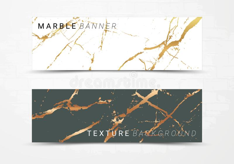 Calibre de bannière de fond de marbre noir et blanc de texture illustration libre de droits