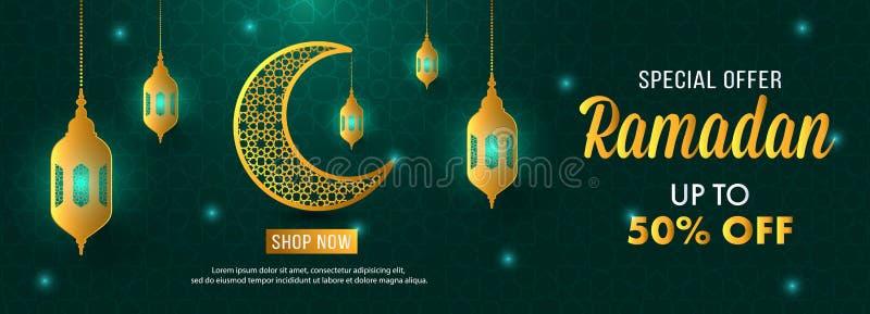 Calibre de bannière de lune de Ramadan Sale Islamic Ornament Lantern d'offre spéciale illustration libre de droits