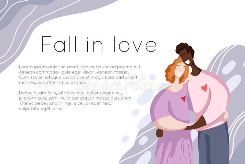 Calibre de bannière de site avec étreindre heureux international de couples et d'endroit pour le texte Relations et amour illustration de vecteur