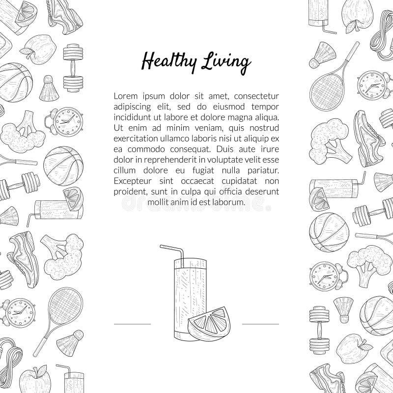 Calibre de bannière de sport et de régime avec l'endroit pour le texte, le mode de vie sain, les sports et le vecteur tiré par la illustration de vecteur