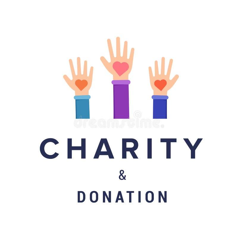 Calibre de bannière de vecteur de charité et de donation illustration stock