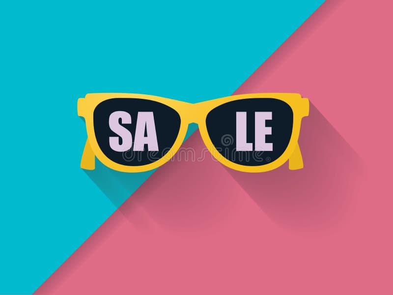Calibre de bannière de vecteur de vente d'été avec des lunettes de soleil sur le fond frais Symbole des achats saisonniers, remis illustration stock