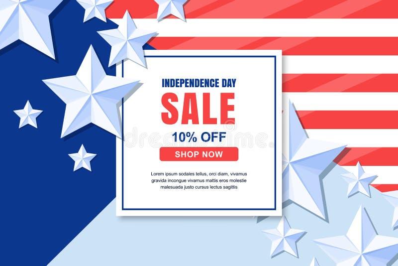 Calibre de bannière de vecteur de vente de Jour de la Déclaration d'Indépendance des Etats-Unis 4 du concept de célébration de ju illustration libre de droits