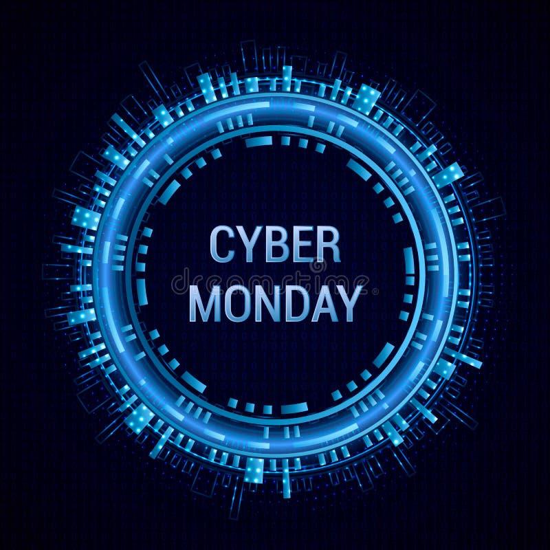 Calibre de bannière de vecteur de vente de lundi de Cyber sur le fond binaire Résumé rougeoyant rond avec le scintillement Vecteu illustration stock