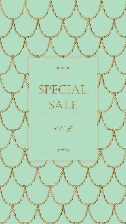 Calibre de bannière de vente de chaîne d'or Échelles de poissons légères d'or de turquoise Vecteur commercial promotionnel d'invi illustration stock