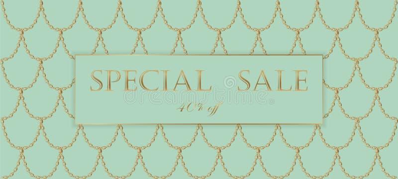 Calibre de bannière de vente de chaîne d'or Échelles de poissons légères d'or de turquoise Vecteur commercial promotionnel d'invi illustration libre de droits